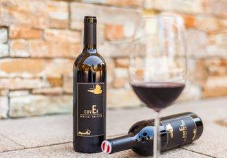 Weinglas mit Weinflaschen